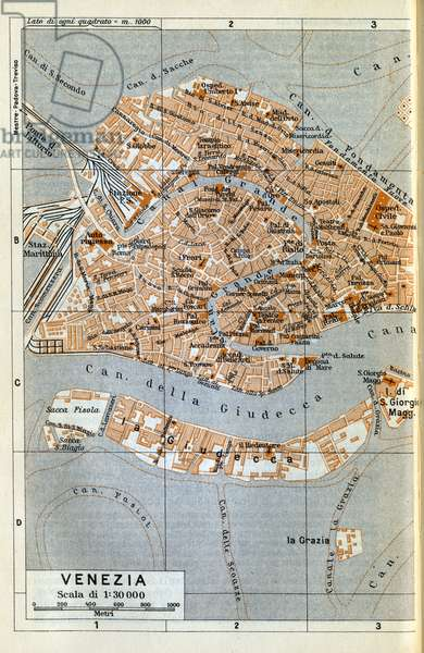 Map (map) of Venice in 1934