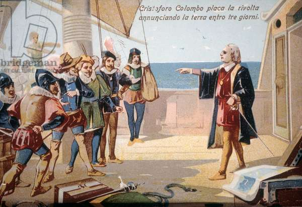 Christopher Columbus stopped the crew revolt by announcing the land in three days. Chromolithography 19th century.