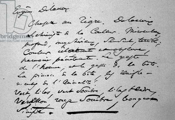 Text of the poet Charles Baudelaire (1821-1867) about the painter Eugene Delacroix published in 1846