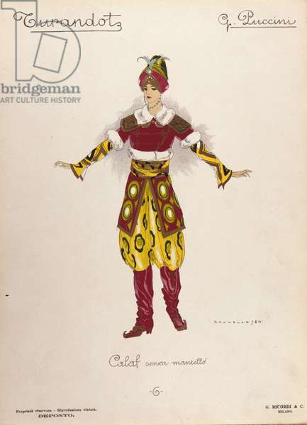 """Costume for the character of Calaf in the opera """""""" Turandot """""""" by composer Giacomo Puccini (1858-1924) - 1926"""