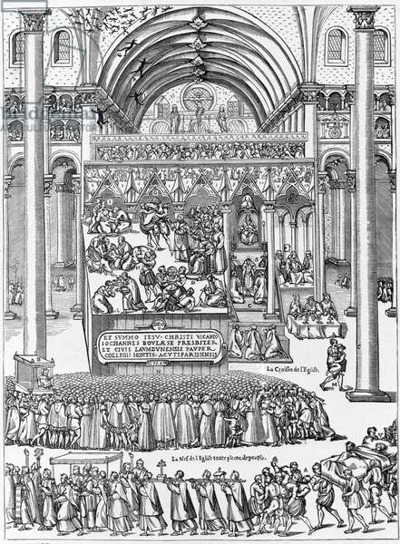 Exorcism of a woman possessed in the Church of Our Lady of Laon, February 8, 1566. According to the Manual of the Victory of the Body of God over the evil spirit of John Boulaese