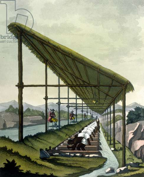 """Diamond washing in Madanga by slaves (Brazil) - in """""""" The old and modern costume"""""""" by Ferrario, ed. Milan, 1819 - 1820."""