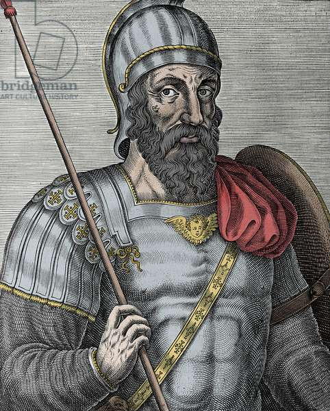 Portrait of Godfrey of Bouillon (Godefroy de Bouillon) (1040/61-1100), Frankish knight, one of the leaders of the First Crusade - Engraving 16th century