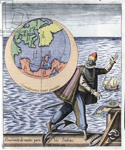 """Representation of Christopher Columbus (1451-1506) - in """"Nova Tipus Transacto Navigatio Novi Orbi"""" by Philoponus Honorius, 1621."""