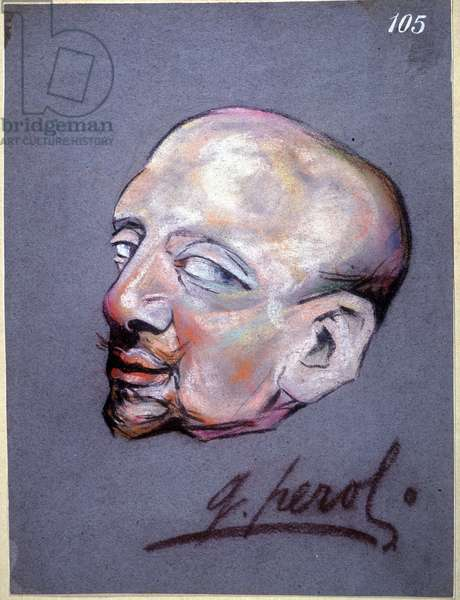 Cartoon by Gabriele d'Annunzio, Italian poet and writer (1863-1938) drawing by G Peroli
