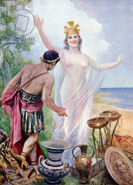 Illustration by F. Fabbri for Homer's Odyssee. Italian edition of 1939.Illustration of hymn XIII relating the arrival of Ulysses in Ithaca and his meeting with the goddess Athena.