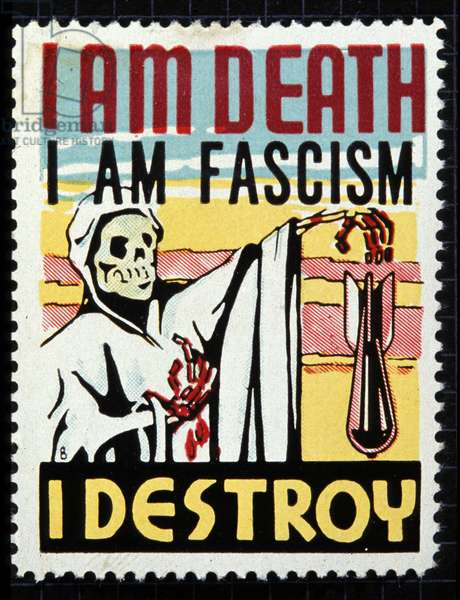 I am death, I am fascism, I destroy. Stamp aiming to fight against the fascist movement by personifying it under the features of a skeleton.