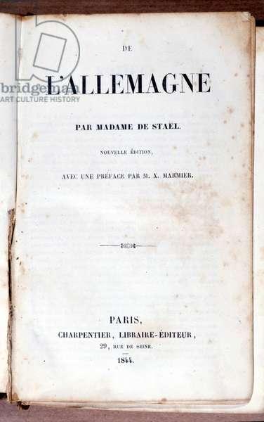 """Title page of """""""" De L'Allemagne"""""""" by Madame de Staêl. 1844."""
