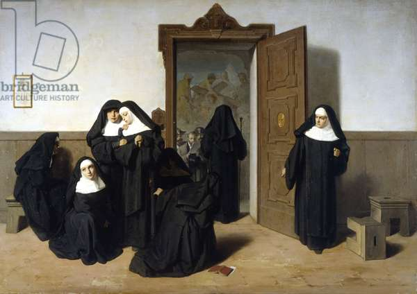 Anticlericalism, suppression of convents, painting by G. Mazza.