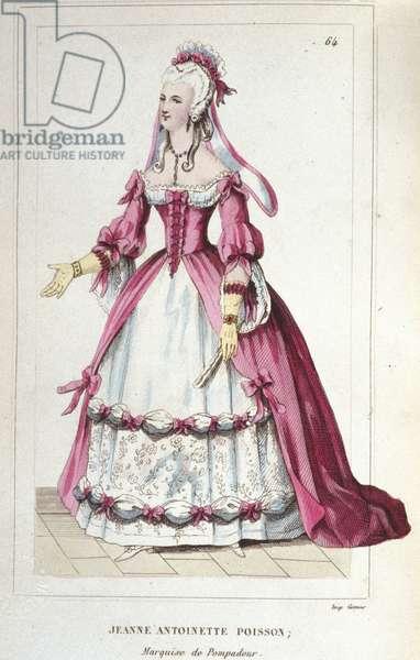 portrait of Jeanne-Antoinette Poisson, Marquise of Pompadour (known as Madame de Pompadour, 1722-1764). engraving of 1830