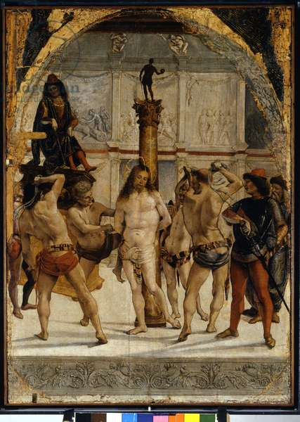 The Flagellation. Painting by Luca Signorelli (1450 - 1523). 1475. Pinacoteca di Brera, Milan.