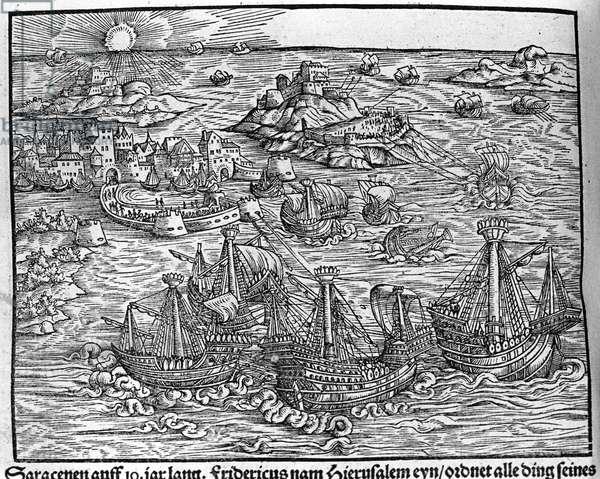 """Clashes between Saracens. Engraving by Johann Stumpff """""""" Den edlen struen belten fromen"""""""", 1550."""