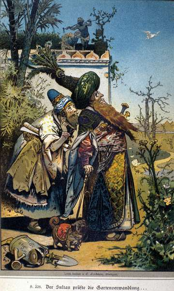"Illustration of Vogel for the tale of brothers Jacob (1785-1863) and Wilhelm (1786-1859) Grimm: ""The Old Sultan"", 1894."