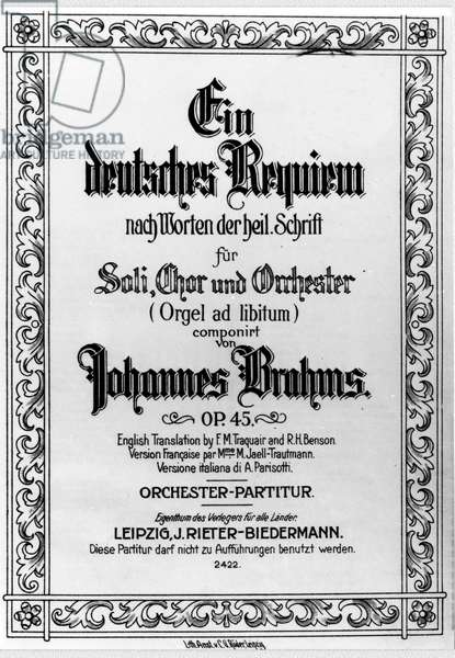 Frontispiece of the German Requiem by Johannes Brahms (1833 - 1897) (litho)