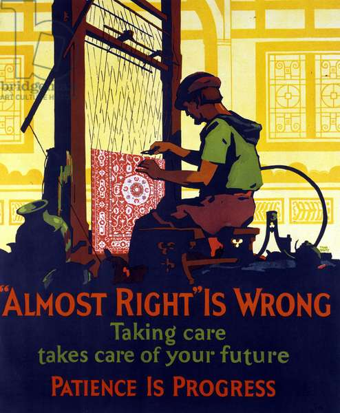 """American poster broadcast after the Great Crisis of 1929 encouraging savings and entrepreneurship. """"Almost true is false. Being careful means thinking about your own future."""""""""""