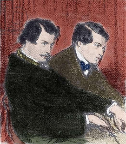 Portrait of Edmond Goncourt (1822-1896) and Jules Goncourt (1830-1870) brothers writers. Drawing by Paul Gavarni (1804-1866) 19th century