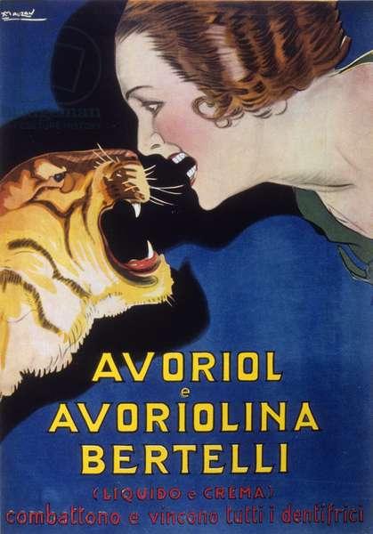 Toothpaste Avoriol and Avoriolina Bertelli (advertising 1920s - 1930s). Illustration by Lucien Achille Mauzan (1883 - 1952).