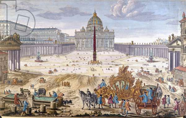 Rome, St. Peter's Square at the beginning of the 18th century.