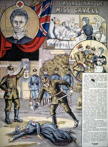 The murder of Edith Cavell, founder of a nursing school, brutally executed by Germans in 1915.