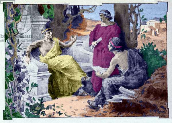 Caius Mecene (approx. 70 - 8 BC), (Caius Maecenas) Roman politician and literary converse with Virgil (70 BC - 19 BC) and Horace (65 BC - 8 BC). Illustration by Anthony Tronchet. 19th century