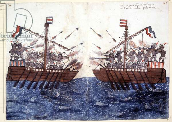 16th century engraving depicting the encounter with a pirate ship in the Indian Ocean. Rome biblioteca Casantense.