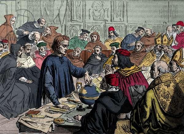 Christopher Columbus (1451-1506) defends his travel project at the University of Salamanca (15th century). Columbus defending his views before the Council at Salamanca.