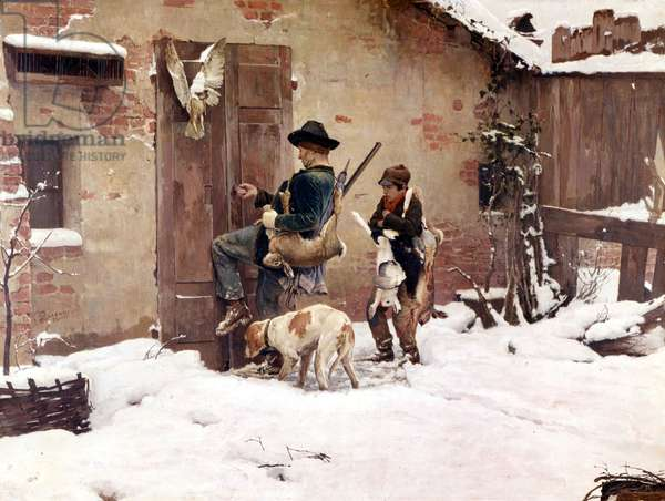 Back from the hunt. Painting by G.Quadrone. 1890  Milan