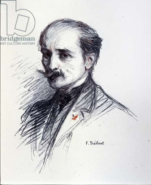 Portrait of Edmond Rostand. (1868-1918) Drawing by Thévenot François (1856-1943).