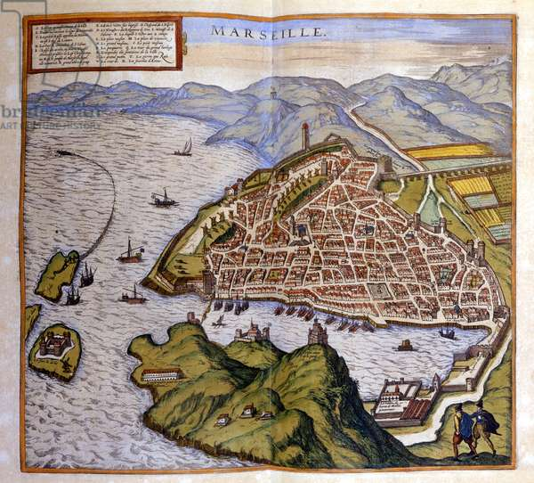 View of Marseille from the Atlas of Braun and Hogenberg, 1584.