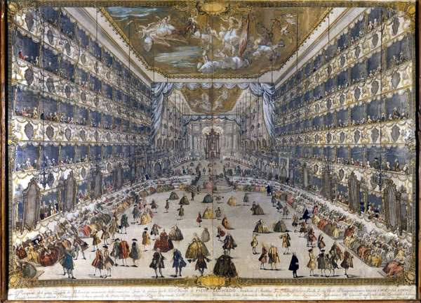 View of the ducal theatre in Milan on 28/5/1747 on the occasion of the feast for the birth of Archduke Leopold of Austria. (Leopold II of Habsburg Lorraine) (1747-1792)