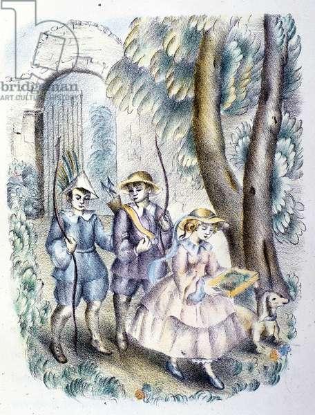 "Illustration for the tale of Danish writer Hans Christian Andersen (1805-1875): ""The flowers of Little Ida"""". Italian anonymous illustrator of the 1920s."