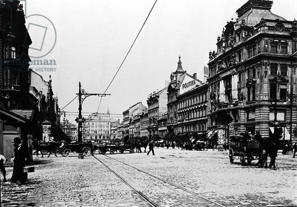 Prague, Wenzel Square in 1904. The general insurance building where Franz Kafka worked. Photography.