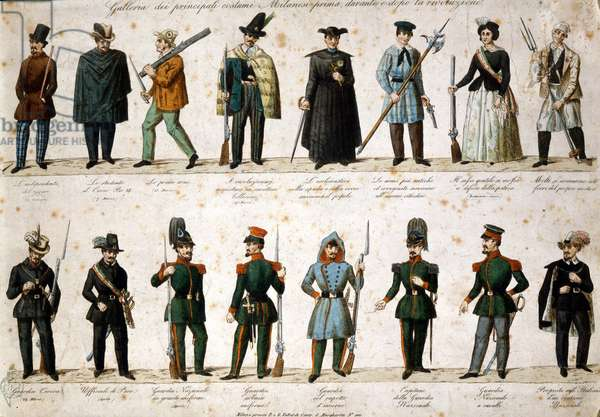 Risorgimento: The Five Days of Milan (Cinque giornate di Milano) (18-22 March 1848): this is one of the first episodes of the Revolutions of 1848 (part of the First Italian War of Independence) that saw the rise of the Milanese population insurgent against the Austrian occupation of Josef Radetzky. Representation of costumes and uniforms of the protagonists of the Five Days of Milan (student, ecclesiastic, sergeant of peace, guards...) Engraving of the 19th century