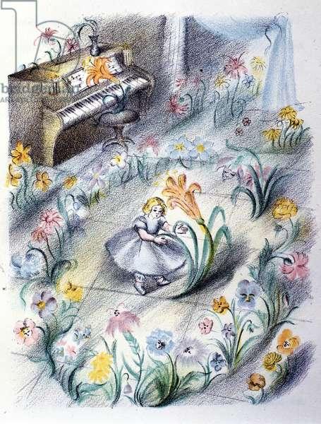 "Illustration for the tale of Danish writer Hans Christian Andersen (1805-1875): ""The flowers of Little Ida"""". The flower ball. Italian anonymous illustrator of the 1920s."