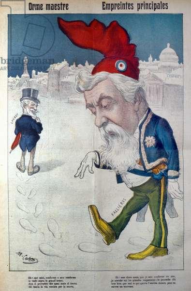 Fallière walks in the footsteps of Loubet. Italian cartoon in La Rana, circa 1910