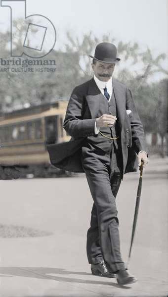 Portrait of Bruce Ismay (1862-1937), a businessman responsible for the construction of the RMS Titanic; he was part of the inaugural voyage in April 1912, which he was rescued and was held primarily responsible for the disaster. Here in Washington in 1912. Photography