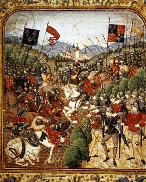 """Battle of Azincourt (1415). During the Hundred Years' War Henry V of England defeated the French Armagnacs party - in """"Grandes Chronicles de France"""" by Jean Fouquet, around 1467 - 1476). Victoria & Albert Library"""