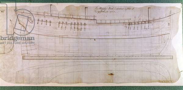 Original James Cook Endeavour Building Plan, 1768. National Marittim Museum Greenwich.