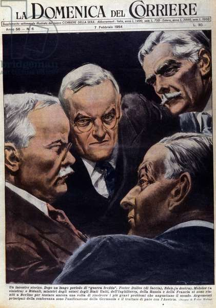 """After a long period of """"cold war"""", Foster Dulles (front), Eden (right), Molotov (left) and Bidault, Foreign Minister of the USA, Great Britain, Russia and France met in Berlin to try to solve problems such as the unification of Germany and the peace treaty with Austria. Drawing by Walter Molino. """"La Domenica del Corriere"""", 7/2/1954."""