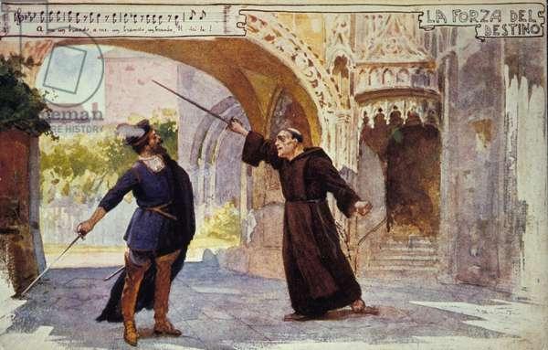 """Scene taken from the opera """"La forza del destino"""""""" by composer Giuseppe Verdi (1813-1901) 20th century postcard"""