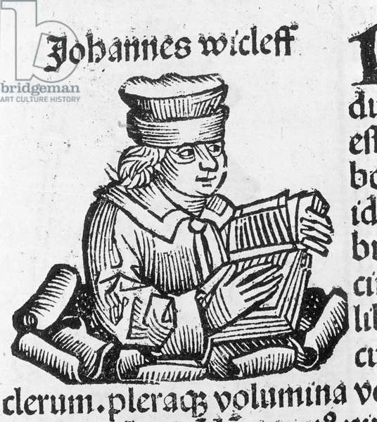 Portrait of Johannes Wyclif (John Wycliffe), English theologian and reformer (1320 - 1384).