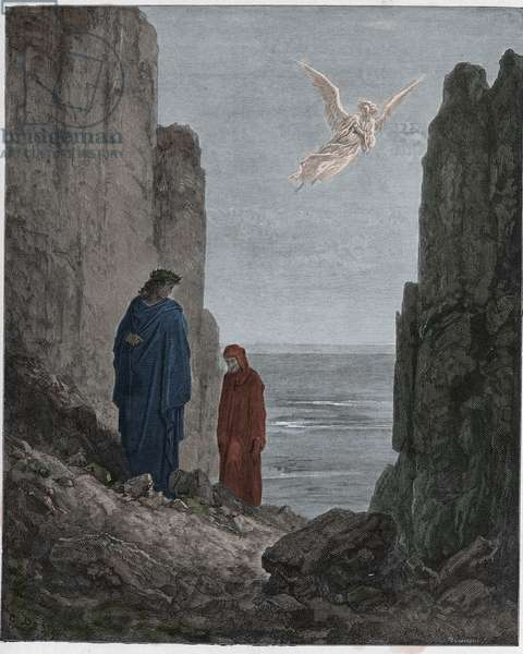 Purgatorio, Canto 19 : The poets ascend to the fifth circle, illustration from 'The Divine Comedy' by Dante Alighieri, 1885  (digitally coloured engraving)