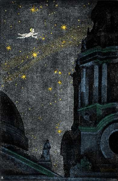 """Illustration for the novel """"Peter Pan"""" by Sir James Matthew Barrie (JM or J. M. Barrie, 1860-1937) depicting a naked child flying in the sky at night. Drawing by Ezio Anichini (1886-1948)."""