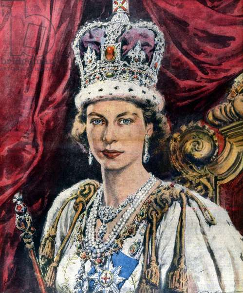 Queen Elizabeth II of England ascended to the throne of England, Scotland and Ireland following the death of George VI. Ill. of Walter Molino. La Domenica del corriere. 17/02/1952.