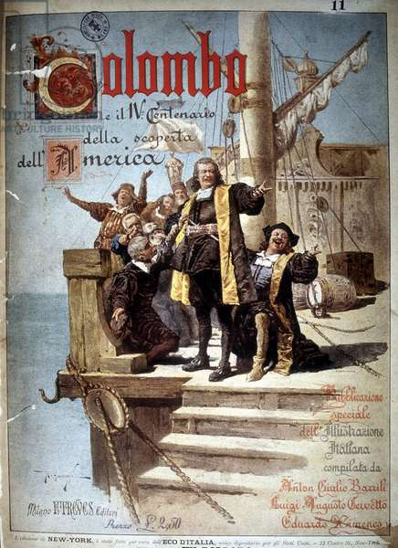 Book cover on Christopher Columbus for the 4th centenary of the discovery of America, 1892.