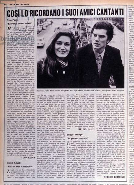 "Suicide of Luigi Tenco on 27/01/1967: article of the magazine """" Oggi"""" of February 1967. Italian singer Luigi Tenco (1938-1967) and singer Dalida (1933-1987) at the Italian Song Festival."