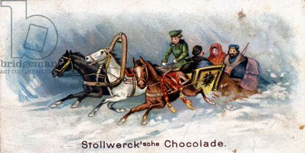 Chocolate advertising sticker: Russian sledge. Chromolithography.