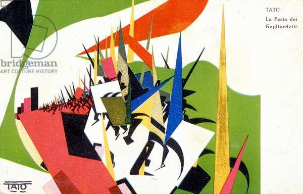 The Festa dei Gagliardetti (Festa dei Gagliardetti) - by the futuristic painter Guglielmo Sansoni, known as Tato. Postcard. sd. 1920s.