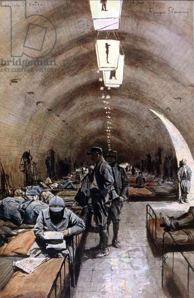 War of 1914 - 1918: The citadel of verdun was built in 1625. This fortress is built on a rocky mound surrounded by escarpment and ditches. In 1887, the fortress was modernized: 4 km of underground galleries were built. The citadel was intended to stop the Germans if they reached the right bank of the Meuse. During the battle, the citadel was used primarily as a shelter for troops coming up to the front and returning from the front. It could house up to 6000 men. 06/06/1916. Illustration by François Flameng (1856 - 1923).