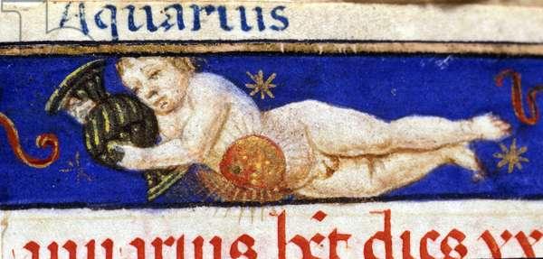 Sign of the zodiac: the Aquarius. 15th century manuscript.